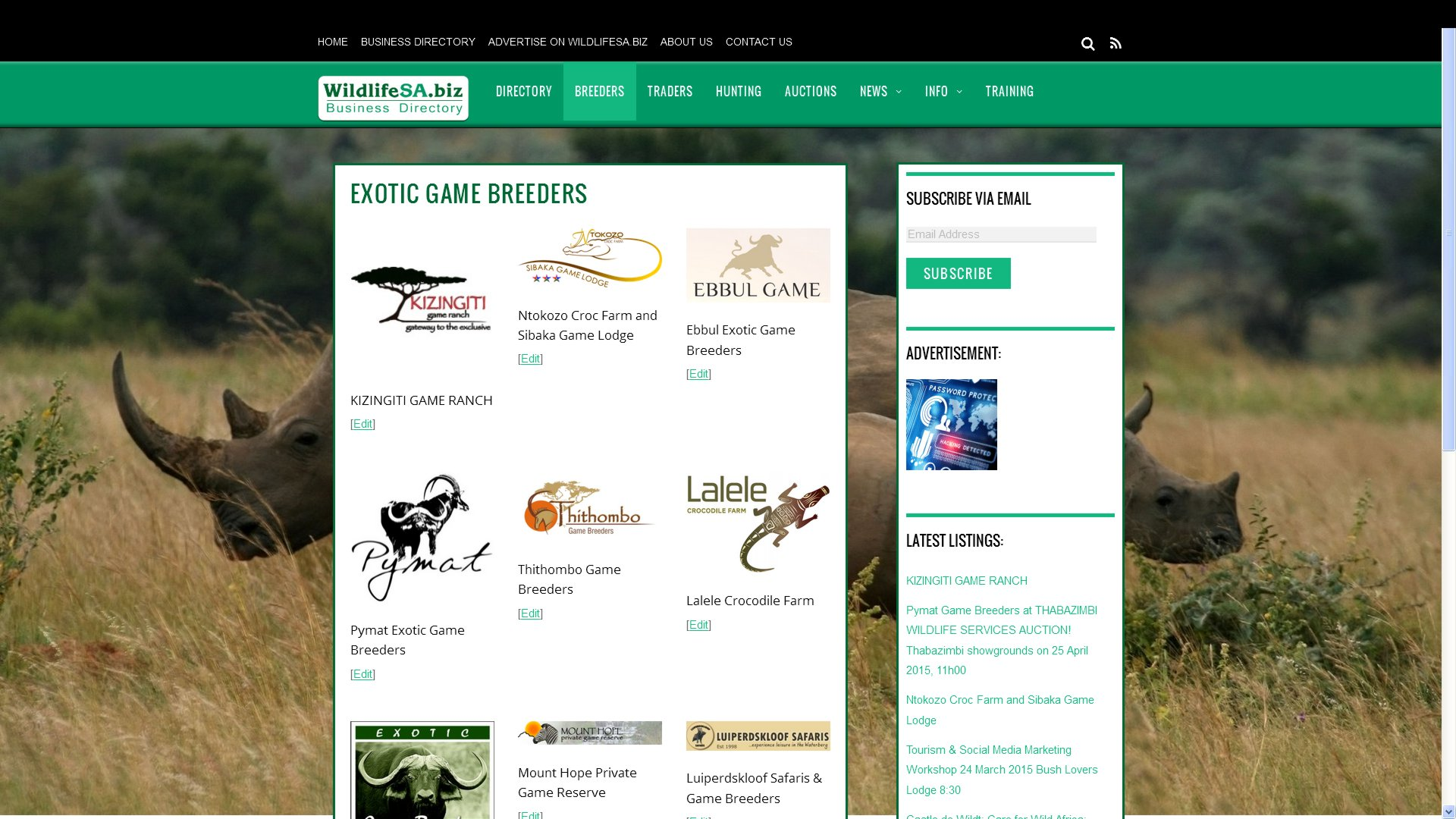 New Wildlifesa biz Business Directory for the South African